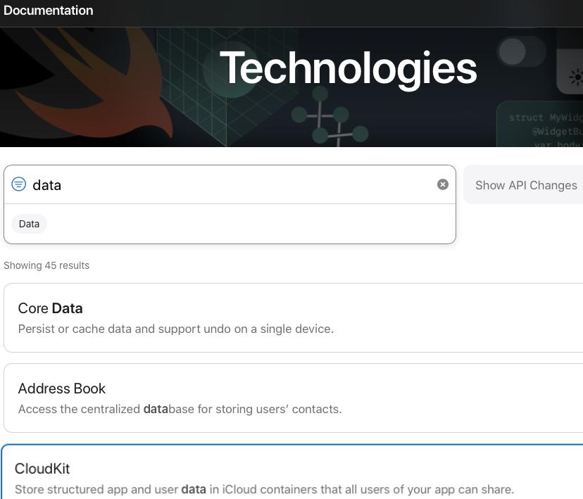 Apple Developer Technologies filtered for 'data'