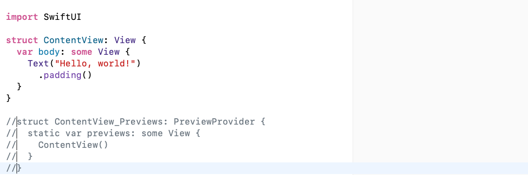 No PreviewProvider so there's nothing in the canvas.