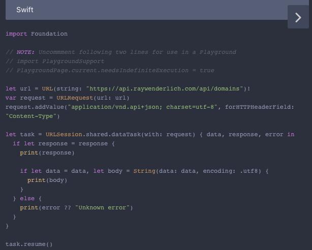Apiary sidebar: generated Swift code