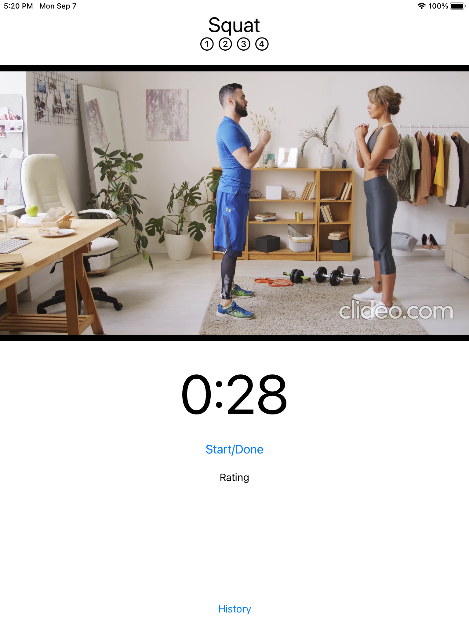 Exercise view with buttons