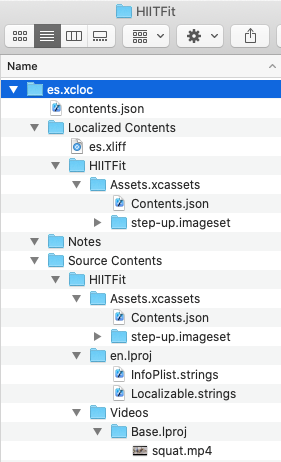 Exported folder