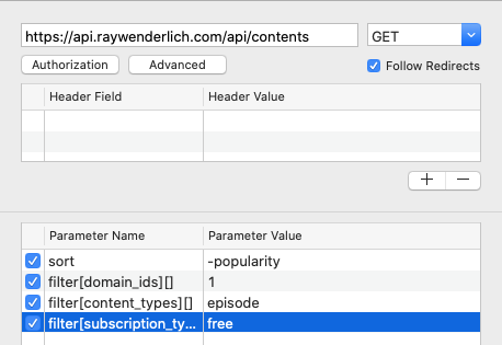 Request: filter on content and subscription types