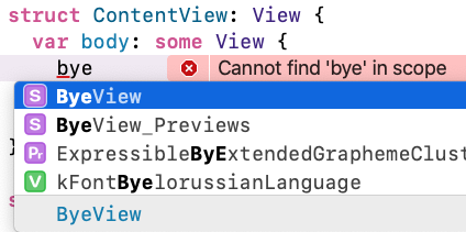 Xcode suggests auto-completions.