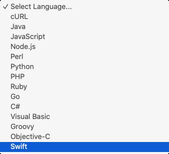 Apiary sidebar: Select Language...