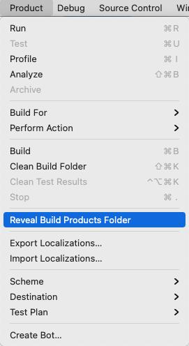 Show .app file in Finder.