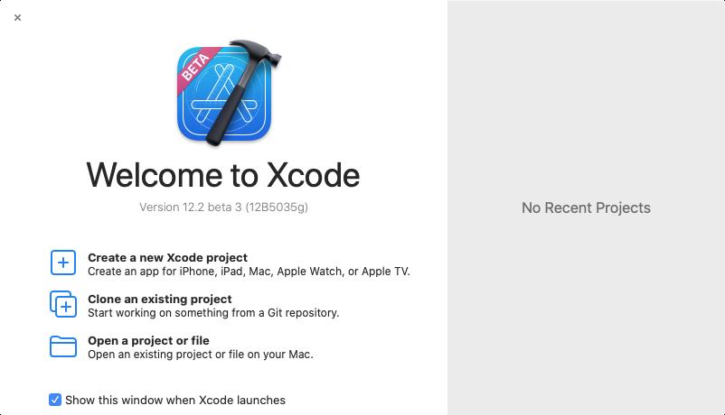 Welcome to Xcode window