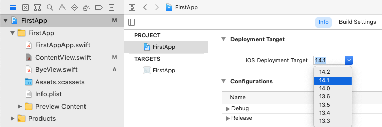 Set deployment target to match your device.