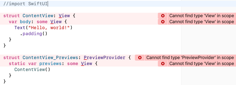 What happens if import SwiftUI is missing