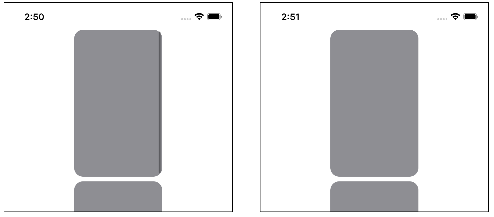 With and without the scroll bar