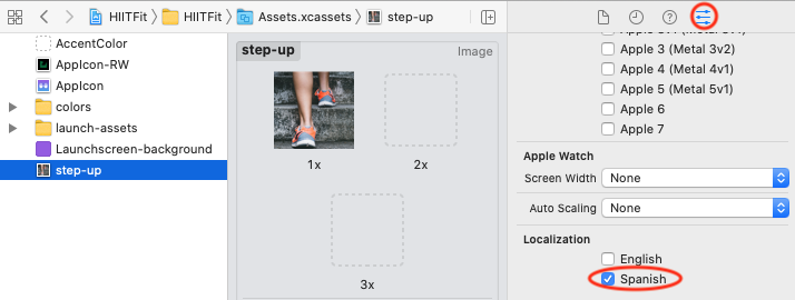 Localize asset in Attributes inspector.