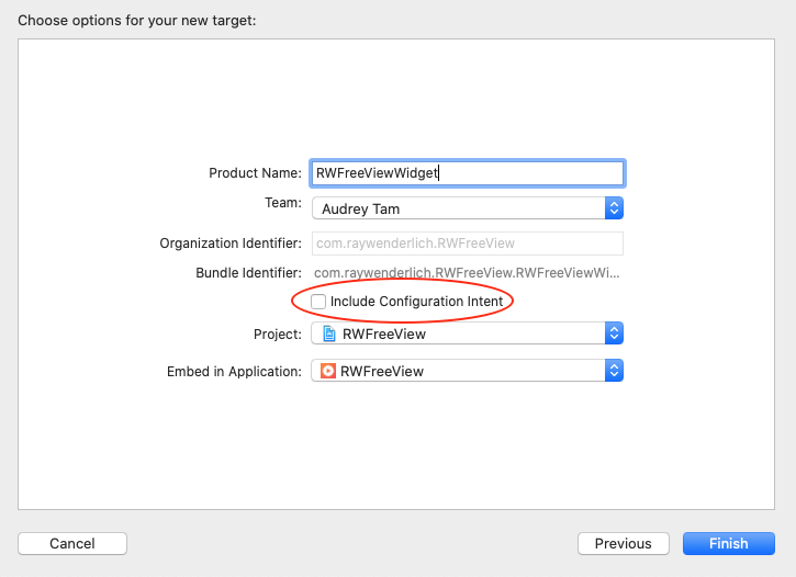 Don't select Include Configuration Intent.