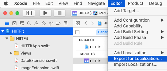 Editor ▸ Export for Localization..