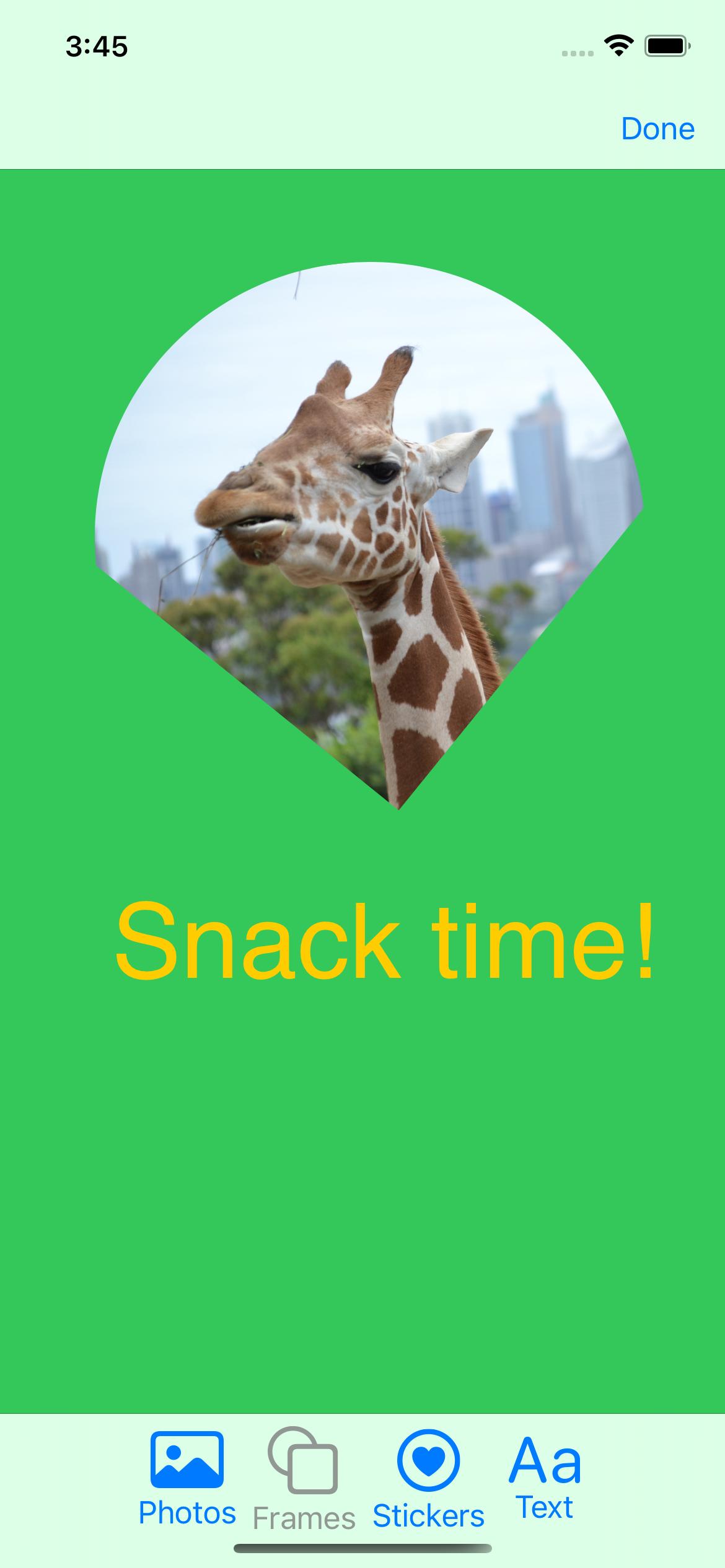 Clipped giraffe