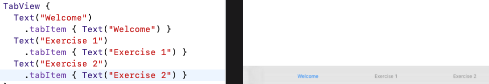 Three tab items with labels
