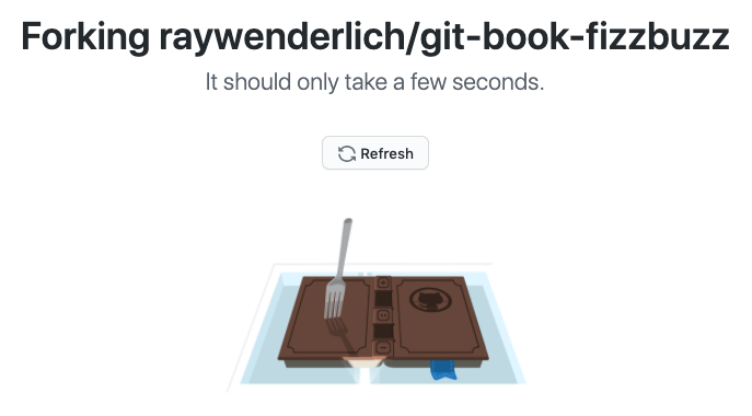 Unfortunately, GitHub no longer shows the fork-in-a-book-on-a-copier image :[