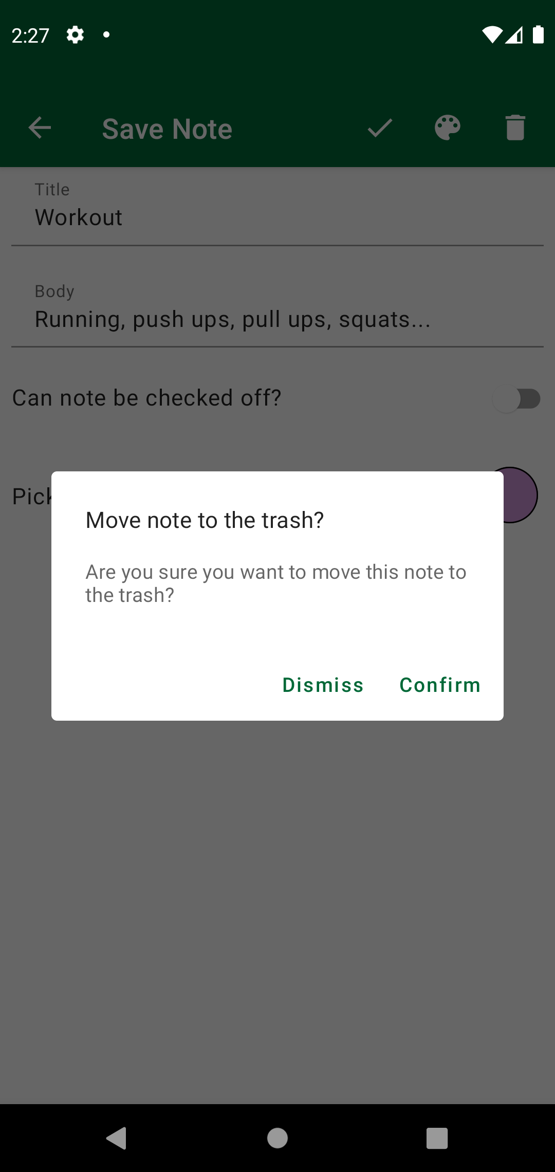 Alert Dialog in Save Note Screen