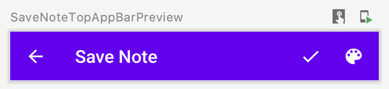 SaveNoteTopAppBar Composable (New Note Mode) — Preview