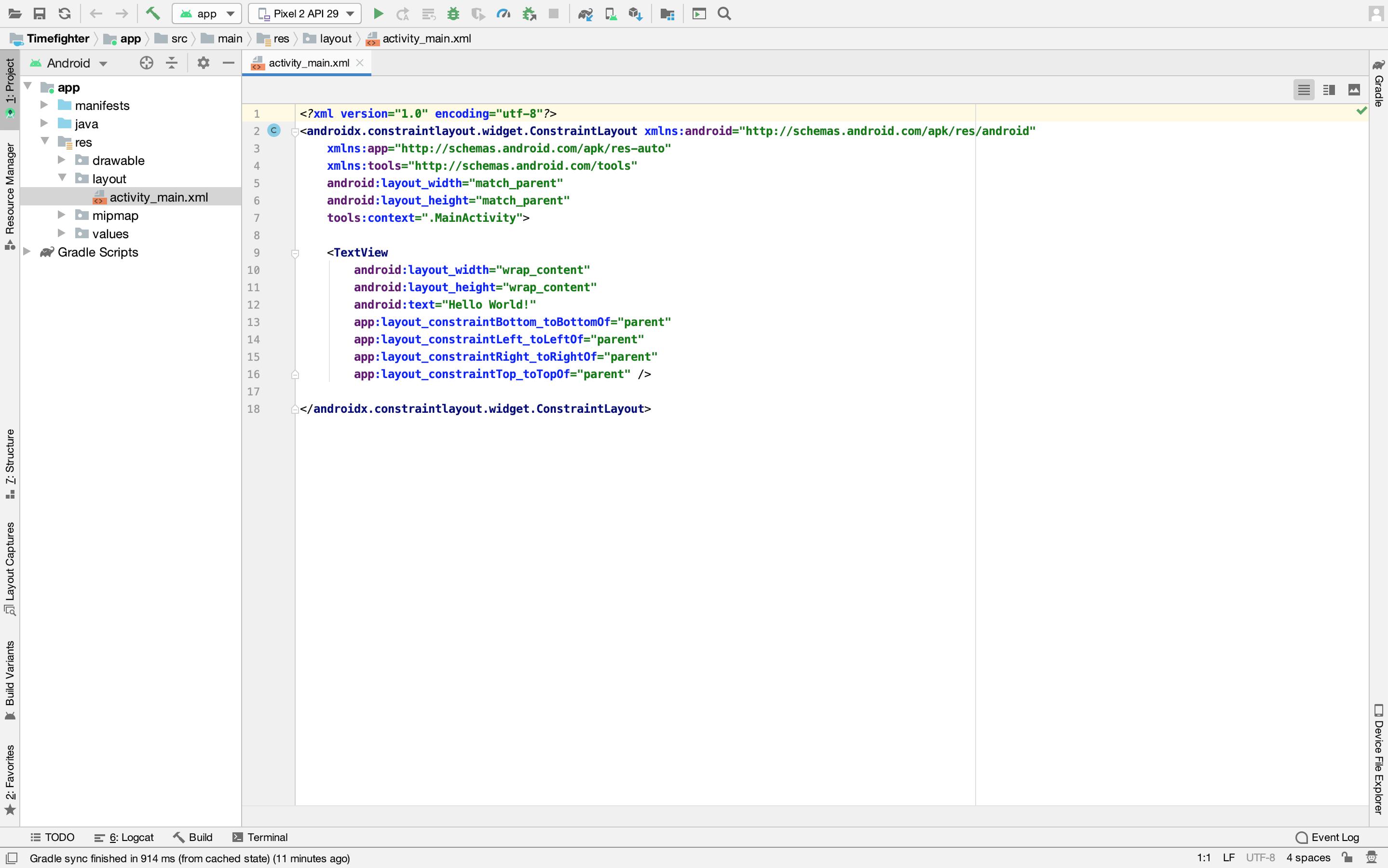 Editing activity_main.xml using the XML Editor