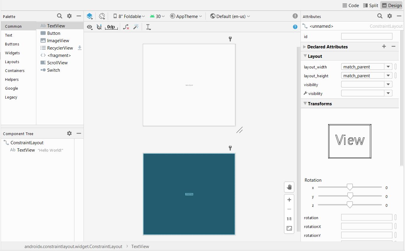 Editing activity_main.xml using the design editor