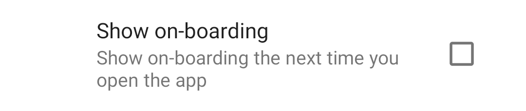Show on-boarding in settings.