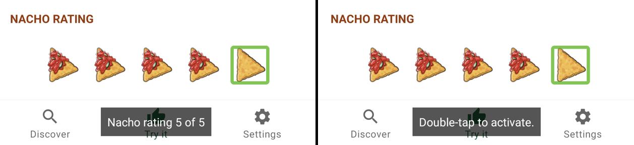 TalkBack nacho rating selection.
