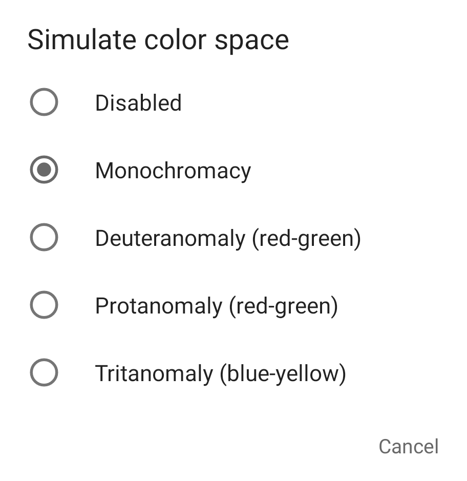 Simulate color space dialog.