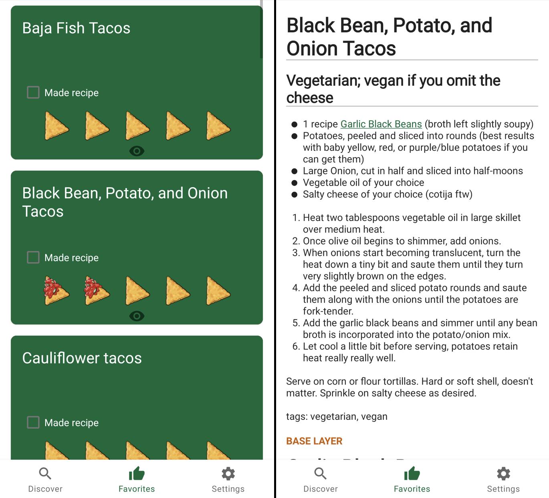 Recipe list screenshot next to details view screenshot
