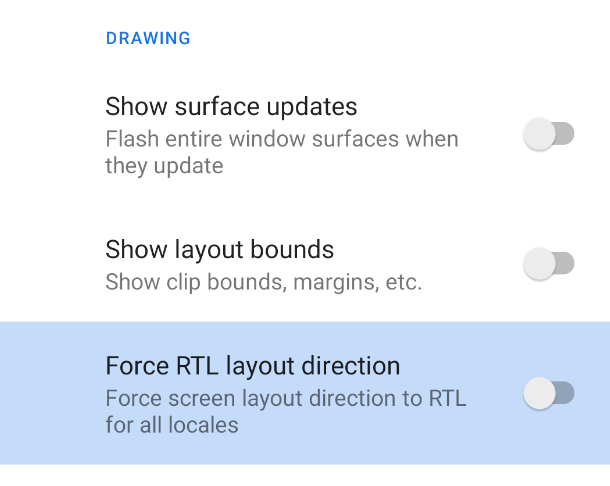 Developer options to force RTL.