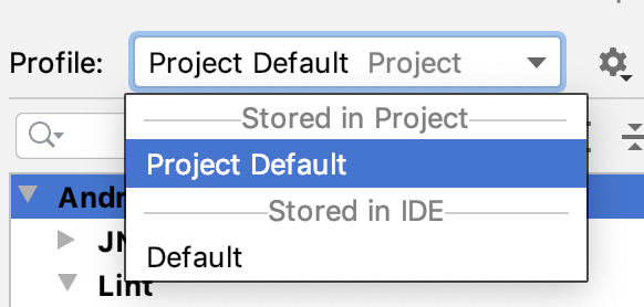 By default, there are two lint profiles to choose from