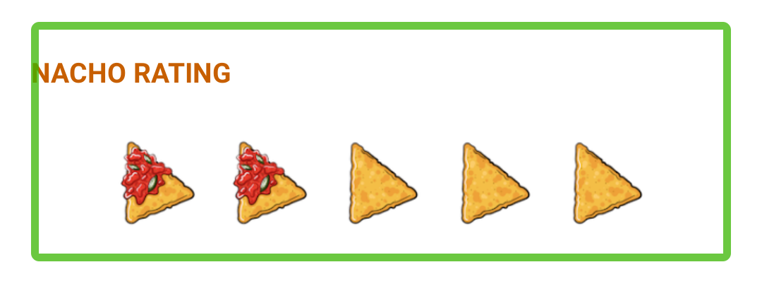 Screenshot of nacho rating and header selected together