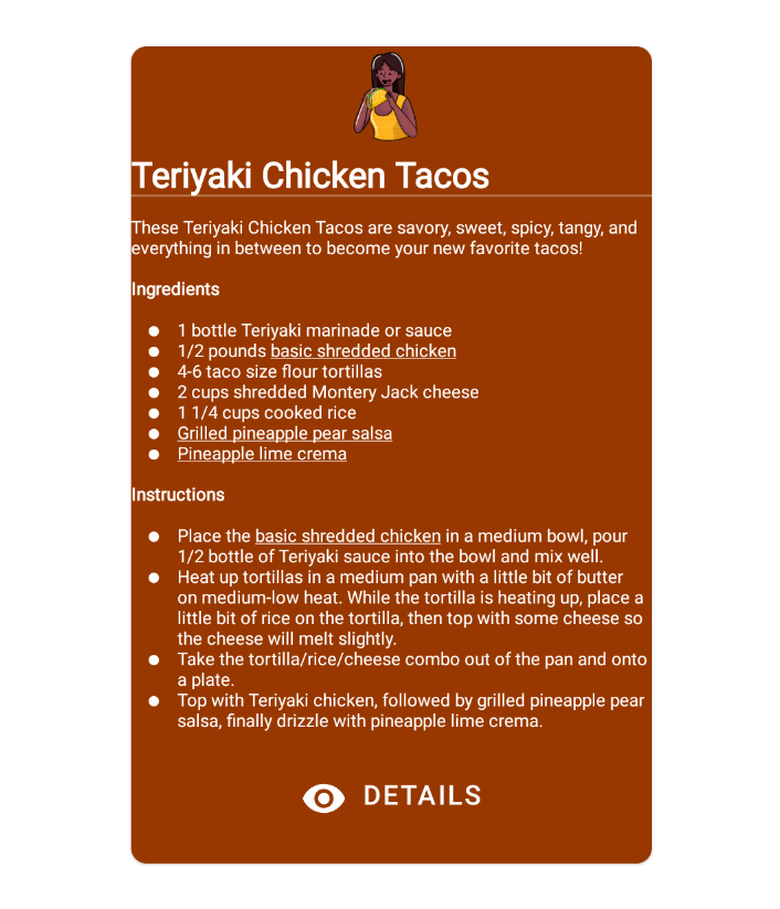 Recipe card with a lot of text.
