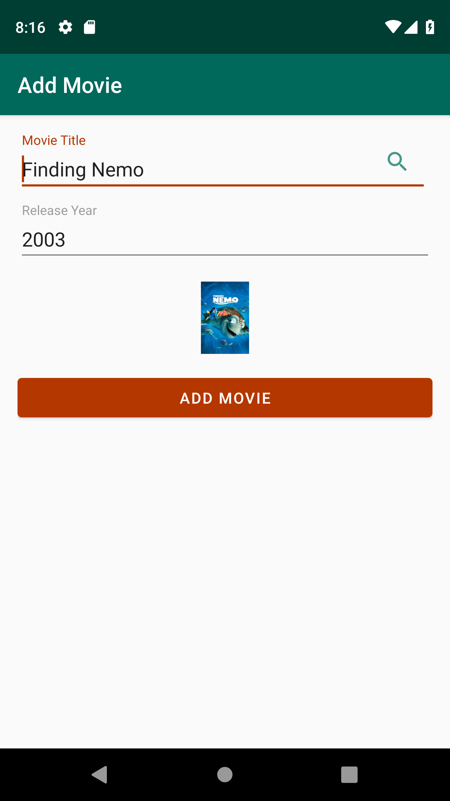 Add movie screen of sample app with the result from the search.