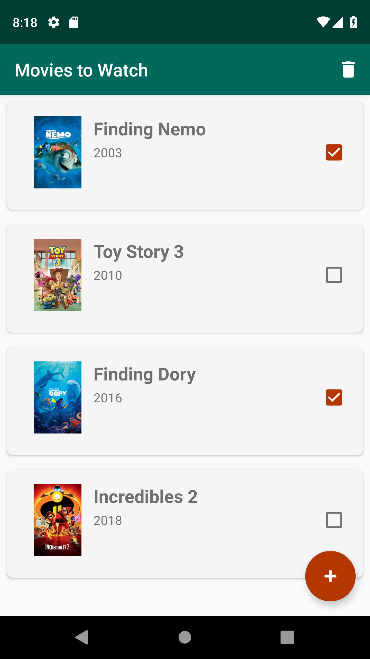 Select movies from list to delete.