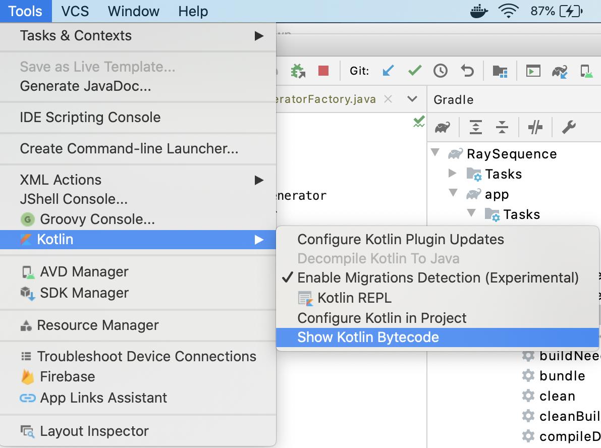 Figure 8_3 — Show Kotlin Bytecode option in Android Studio
