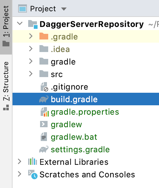 Figure 6.7 — build.gradle file for the DaggerServerRepository project