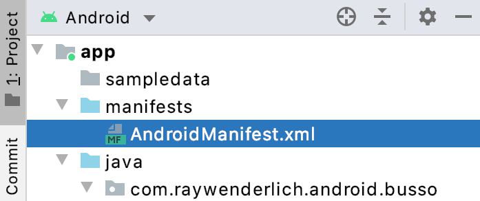 Figure 3.4 - Location for the AndroidManifest.xml file