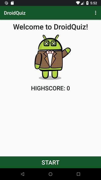 Starting Screen of the Sample App.