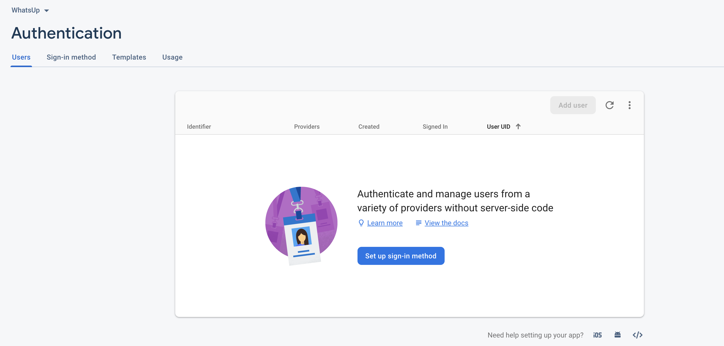 Authentication Page.