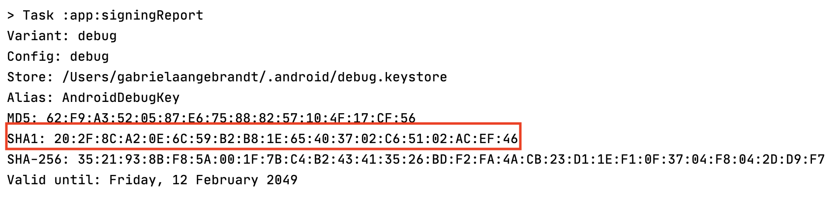 Signing Report with SHA1 key.