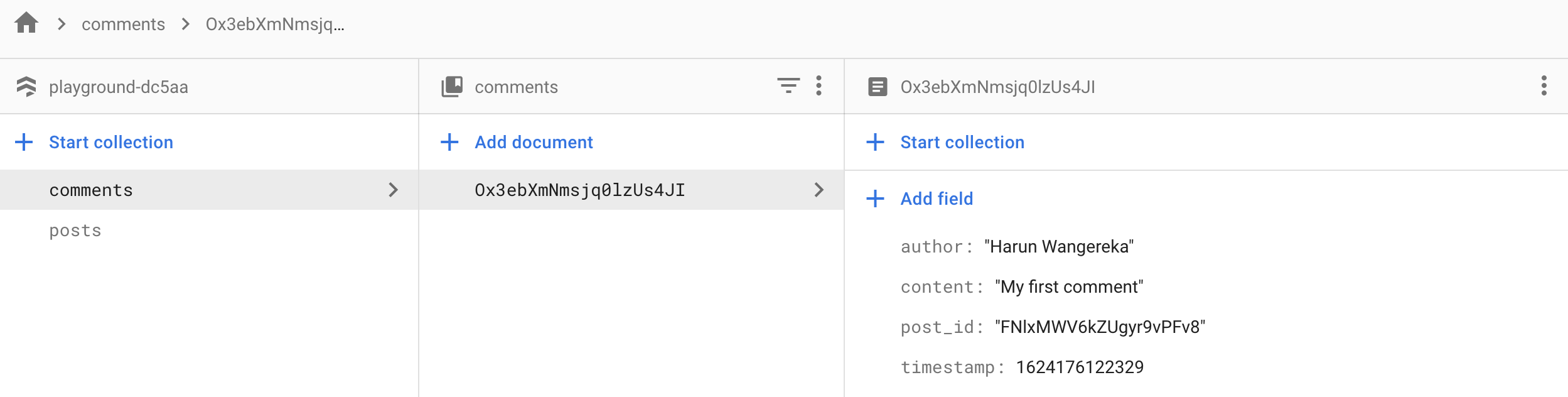 Comments Collection in Firestore Database.