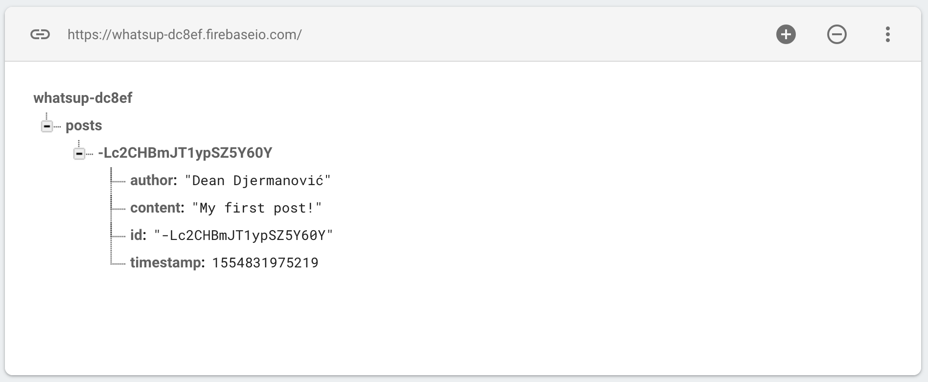 Firebase Console preview - Post is saved in the database.