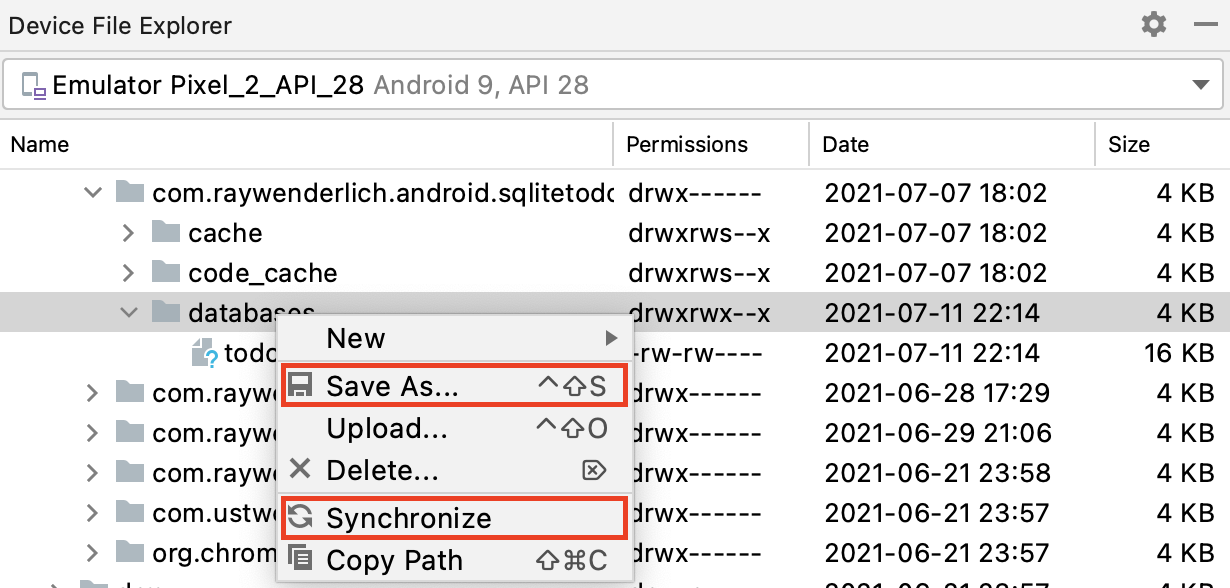 The Database Folder for the App and Context Menu of Device File Explorer