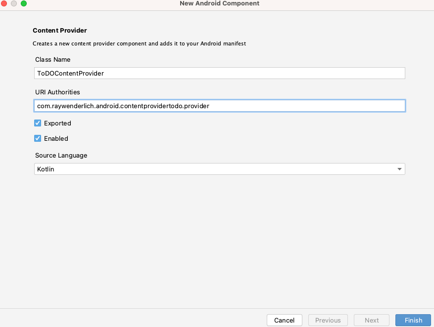 Add a Content Provider dialog.
