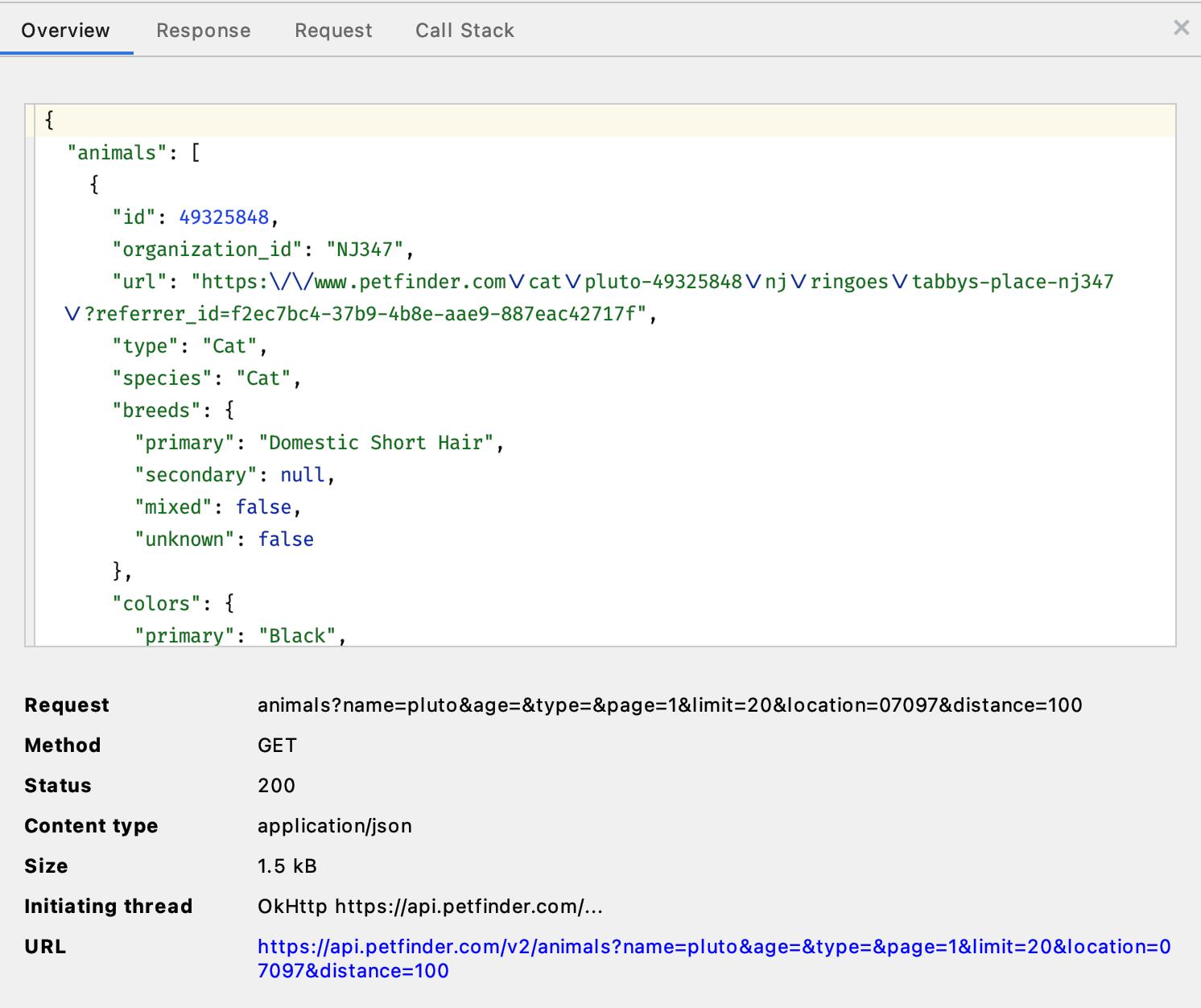 Figure 21.15 — Network Profiler Request Detail