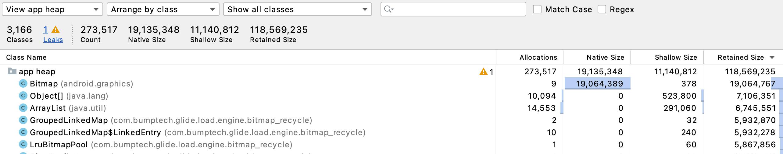 Figure 21.8 — Memory Profiler Heap Dump