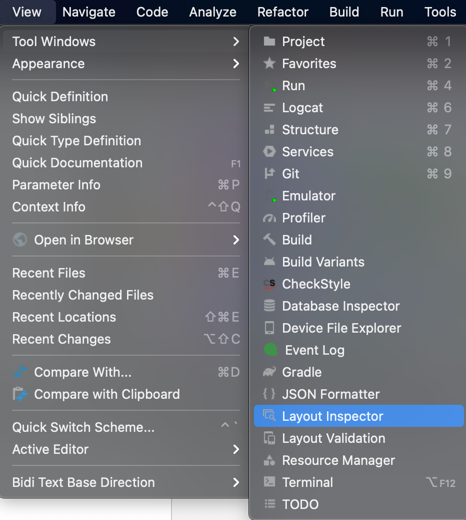 Figure 21.20 — Android Studio Layout Inspector