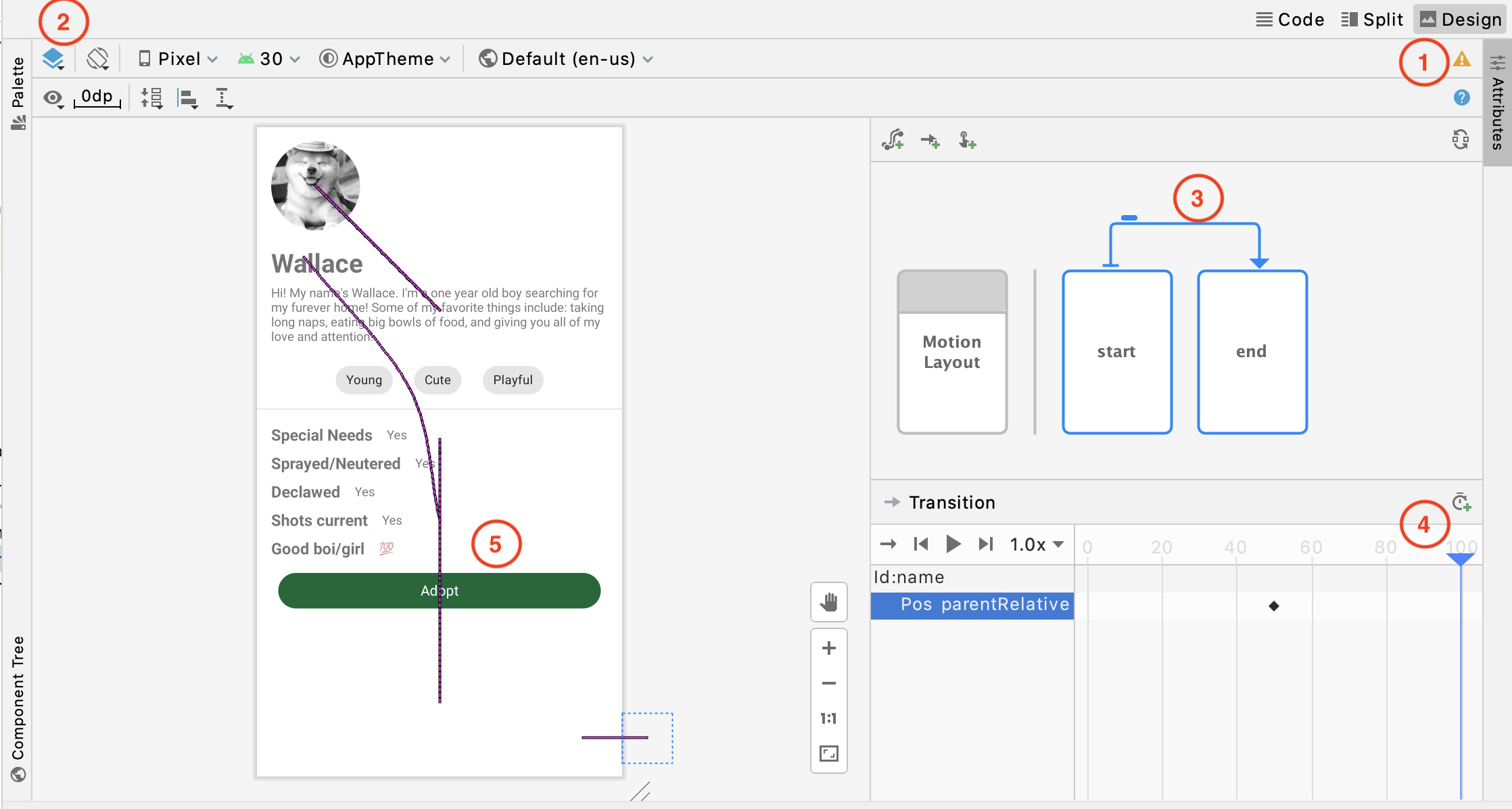 Figure 13.6 — ProgressButton Preview in Layout Editor