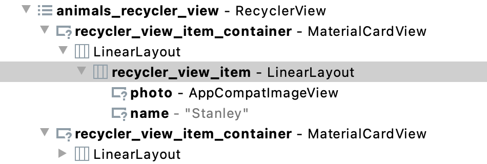Figure 21.25 - Layout Inspector Nested LinearLayout Example