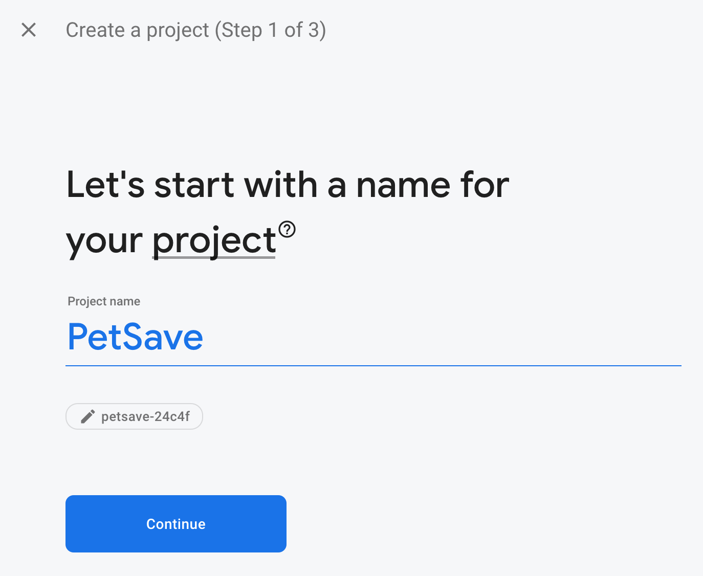 Figure 19.2 — Insert Firebase Project Name