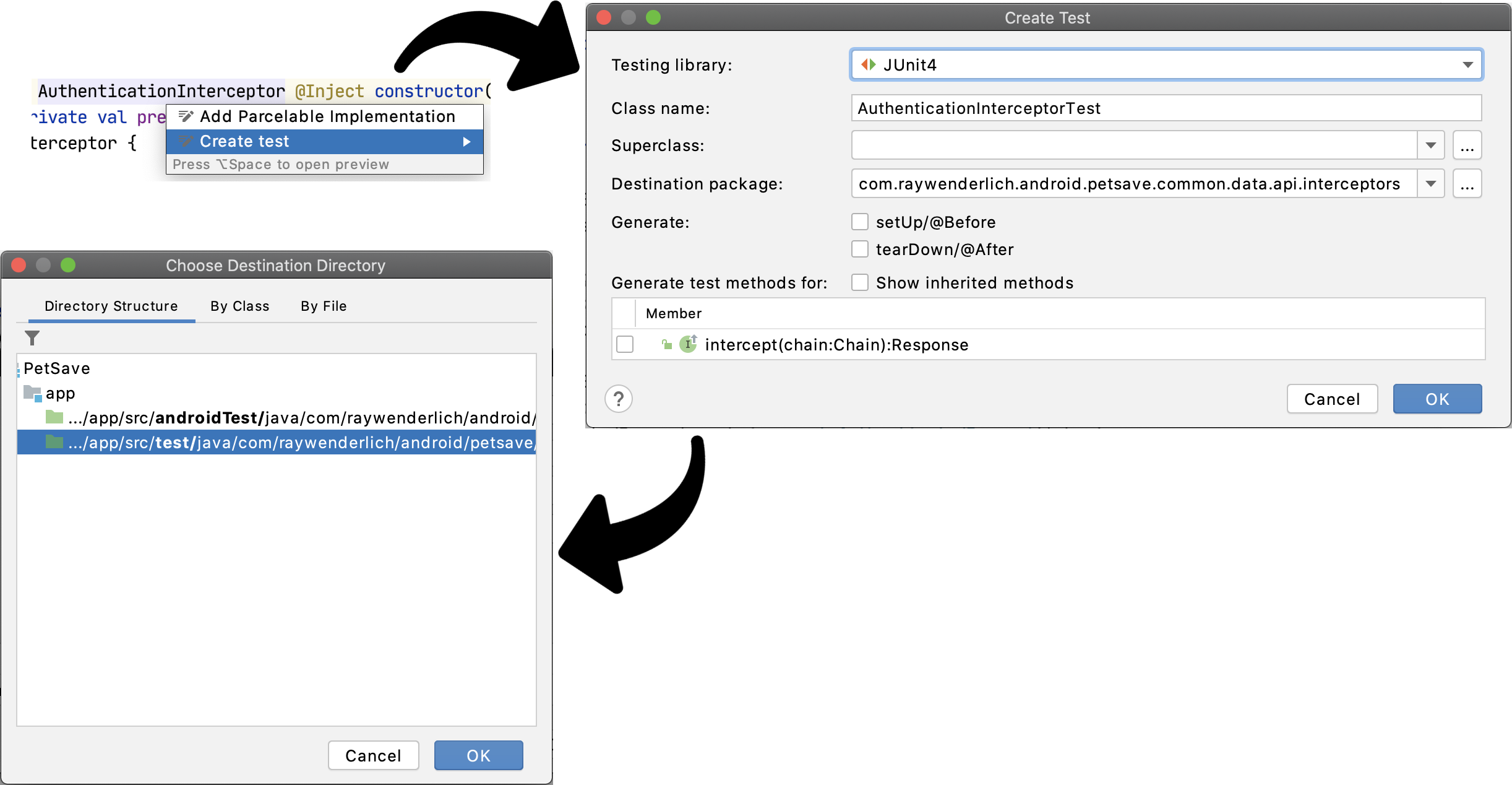 Figure 4.3 — Creating Tests With Android Studio's Help.